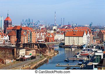 panorama, de, gdansk
