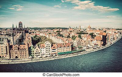 panorama, de, gdansk, cidade velha, e, motlawa, rio, em,...