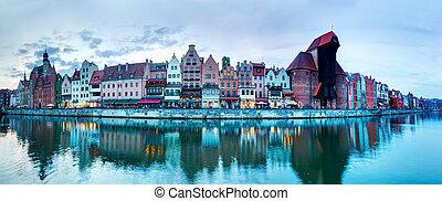 panorama, de, gdansk, cidade velha, e, motlawa, rio, polônia