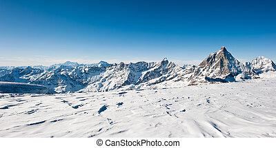 panorama, de, geleira, em, kl., matterhorn