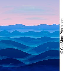 panorama, de, hills., sunset., mist.
