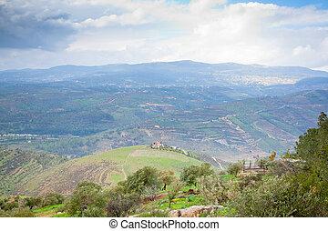 panorama, de, jordânia, país
