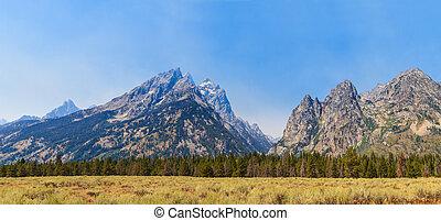 panorama de la montaña, nacional, wyoming, parque, gama, ...