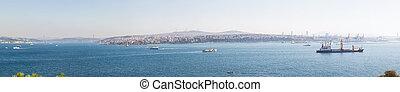 panorama, de, les, bosphore, et, istanbul's, asiatique, côté