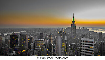 panorama, de, manhattan, nueva york