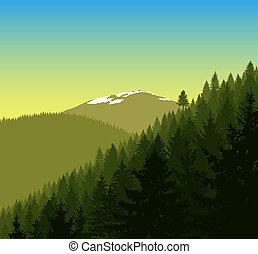 panorama, de, montañas.