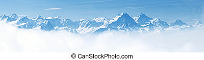 panorama, de, neve, paisagem montanha, alpes