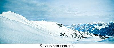 panorama, de, nieve, mountain., invierno, en, el, suizo, alps.