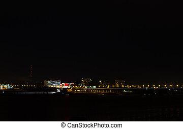 panorama, de, nuit, ville