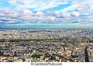 panorama, de, paris, de, a, montparnasse, tower., france.