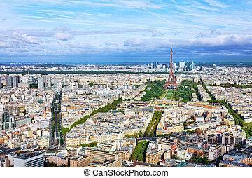 panorama, de, paris, de, a, montparnasse, tower.,...