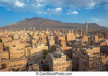 panorama, de, sanaa, yemen