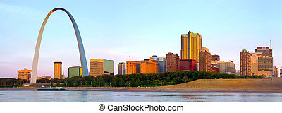 panorama, de, st louis, skyline