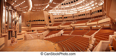 panorama, de, vazio, concert salão, com, órgão