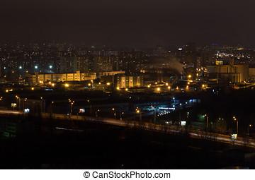 panorama, de, ville, à, night., vue, top.