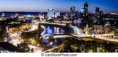 panorama, de, ville, soir