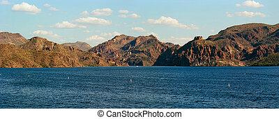 panorama, deserto, lago
