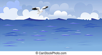 panorama, di, il, oceano, con, uno, volando alto, gabbiano
