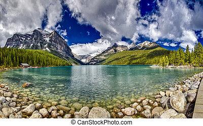 panorama, di, lago louise