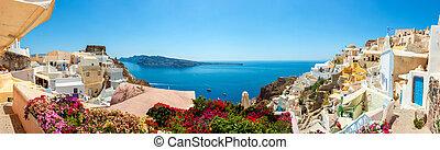 panorama, dorp, santorini, oia, eiland