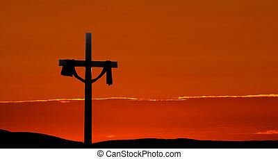panorama, dramático, Pascua, salida del sol, mañana