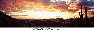 panorama, dramatisch, ondergaande zon , woestijn