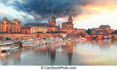 panorama, drezdenecki, niemcy, zachód słońca