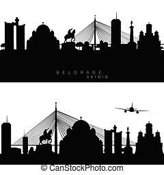 panorama, edificios, silueta, estatua, belgrado