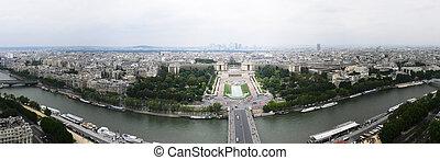 panorama, eiffel, paris, france, north-west, tour