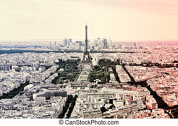 Panorama Eiffel Tower in Paris in the colors of the French national flag. Vintage view. Tour Eiffel old retro style .