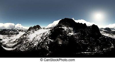 panorama, eins, luftaufnahmen, gemacht, vr, berge., lense,...