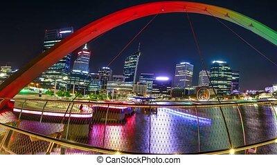 Panorama Elizabeth Quay Bridge - Panorama of coloful arcade...
