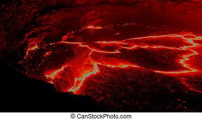 Panorama Erta Ale volcano crater, melting lava, Danakil depression, Ethiopia