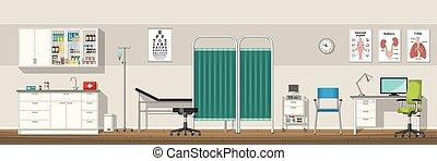panorama, escritório, ilustração, doutor