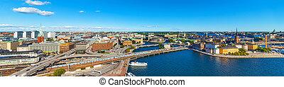 panorama, Estocolmo, aéreo, Suecia