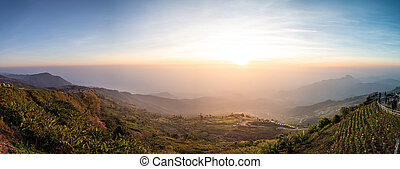 Panorama famous travel location at Phu Tub Berk viewpoint in Phetchabun province Thailand.