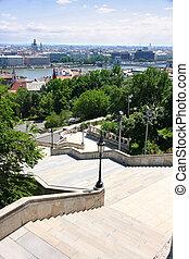 panorama, fischers, bastion, details, ungarn, budapest,...