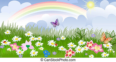 panorama, floral, gramado