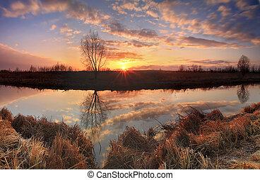 panorama, fluß, sonnenaufgang