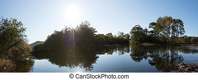 panorama, fluß, wald, sonnenaufgang