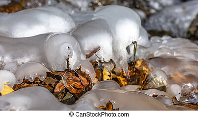 Panorama frame Close up of frozen water on a rocky stream with scattered fallen brown leaves
