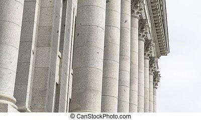 Panorama frame Corinthian stone columns at Utah State Capital Building facade in Salt Lake City