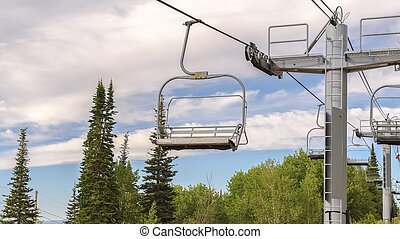 Panorama frame Focus on chairlifts with scenic aerial view of Park City Utah during off season
