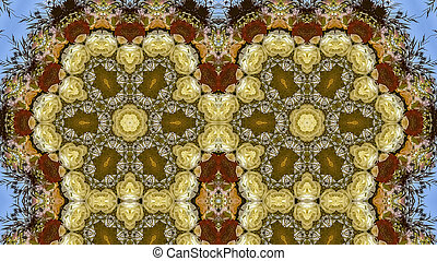 Panorama frame Quadruple hexagonal flowers in circular arrangement at wedding in California on blue background