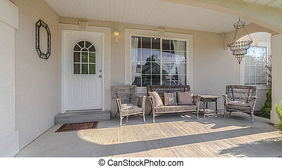Panorama frame Traditional home veranda and deck with no people