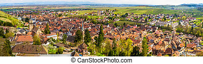 panorama, france, traditionnel, alsace, ribeauville, village