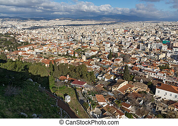 Panorama from Acropolis to city of Athens, Greece