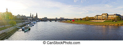 Panorama from Dresden during the sunset, Germany
