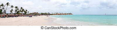 Panorama from Druif beach on Aruba island in the Caribbean Sea