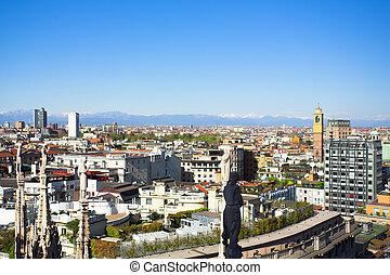 Panorama from Duomo roof, Milan, Italy